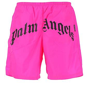Palm Angels Gothic Print Logo Pink Swim Shorts