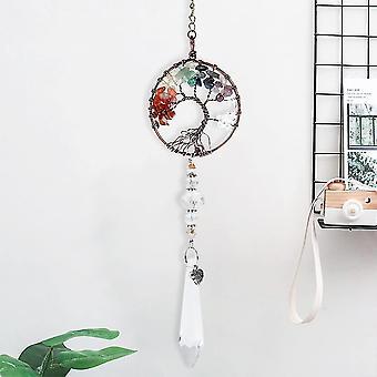 Life tree tyyli suncatcher kristalli roikkuu riipus käsintehty ikkuna koriste cai1377