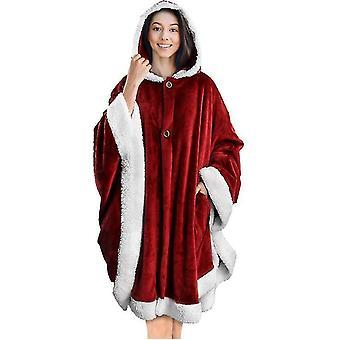 Poncho Mjuk Sherpa Ull Fleece Filt Med Ficka (Röd)