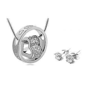 Duo Heart Charm Hänge och Örhängen Set täckt med kristaller från Swarovski - Silver 2 Pack