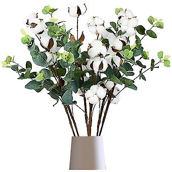 Puuvilla twig 6 kpl kuivattua puuvilla oksaa valkoinen puuvillakoriste maljakoille, kuivattu kimppu
