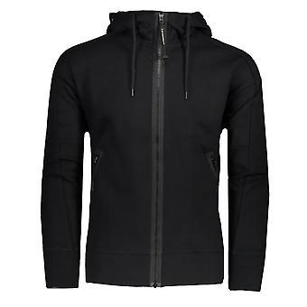 C. P. Company C.p. Company 046a Diagonal Raised Fleece Zip Genom Goggle Hood Top - Svart