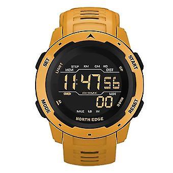Men Digital Watch, Sports Watches, Dual Time, Pedometer, Alarm Clock,(Yellow)