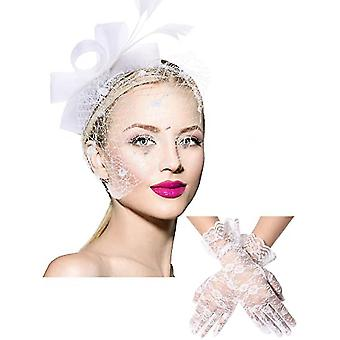 Bowknot Hat Feathers Veil Mesh Headband And Short  Floral Lace Gloves(White)