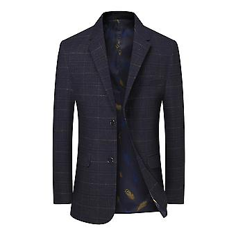 Mile Men's Two-piece Single-breasted Plaid Blazer Without Slits Lapel