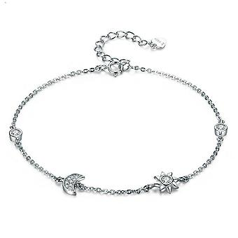 Silver plating Clasp Star and Moon Bracelet & Bangles for Women Jewelry
