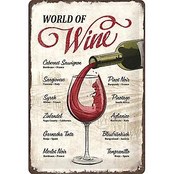Welt des Weins Vintage Design große Zinn Zeichen