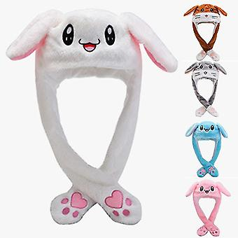 Rabbit Ear Hat Beanie Plush Can Moving Bunny Ears Hat With Light(White Rabbit)