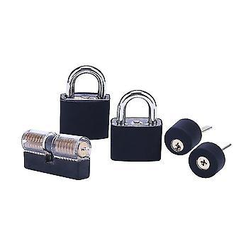 Locks latches free shipping 5pcs transparent lock combination with black cover  locksmith transparent lock pick