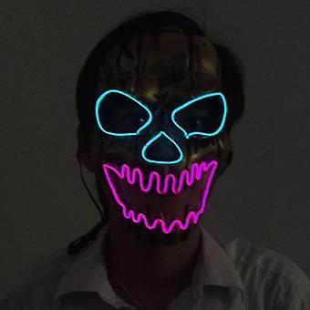Halloween SlipKnot maszk Szörnyű nyitott szájú tűzkoponya EL álarcOS LED maszk