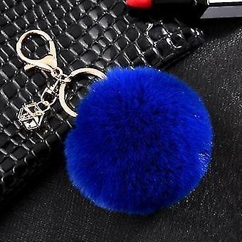 Fluffy and soft nordic style rabbit pompom trinket keychains(Dark Blue)