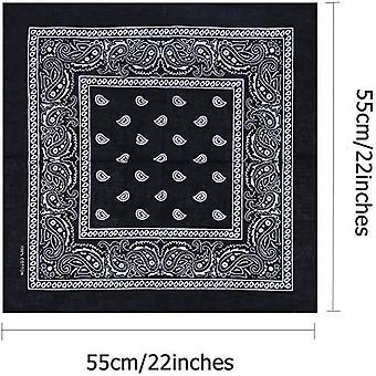 16pcs Bandanas 100% Cotton Novelty Double Sided Print Bandana Party Scarf Headband Handkerchiefs (random Color)