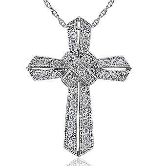1/2ct Vintage Pave Diamond Cross Pendant 14K White Gold