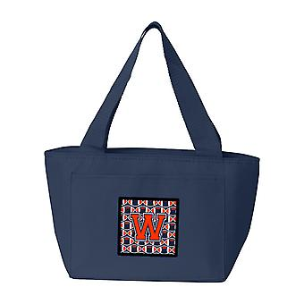 Letter W Football Orange, Blue and white Lunch Bag