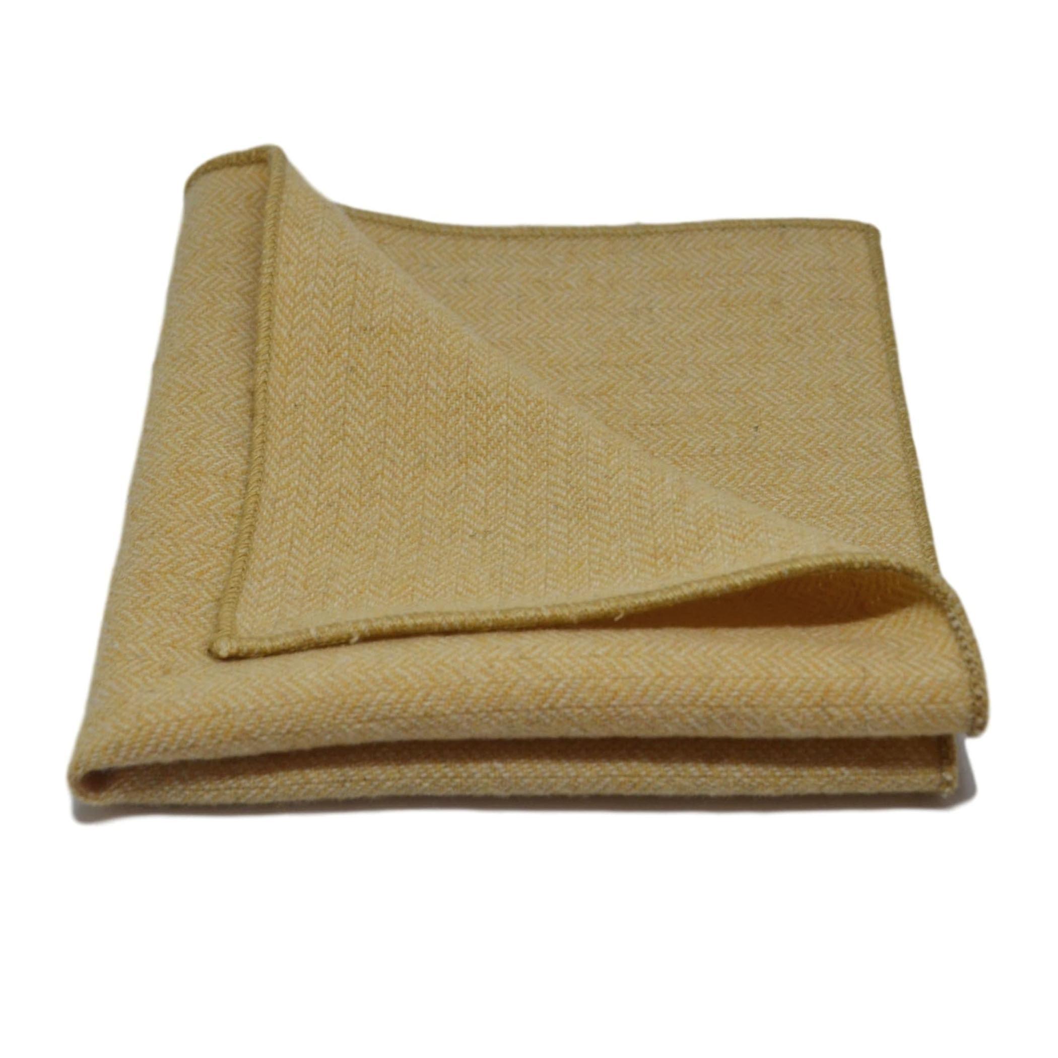 Golden Yellow Herringbone Tie & Pocket Square Set