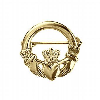 9ct Gold 22mm Claddagh Brooch