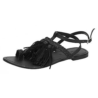 Leather Collection Womens/Ladies Flat Toe Loop Sandals With Decorative Tassels