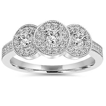 3/4CT 3-Stone Vintage Diamond Halo Ring 14K White Gold