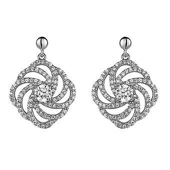 Orphelia Silver 925 Drop Earring Flower Center Stone Zirconium  ZO-5178
