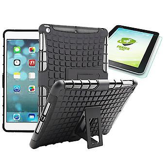 Hybridi ulkouima suojakotelo musta iPad turvatyyny 1 + 0,4 H9 karkaistu lasi