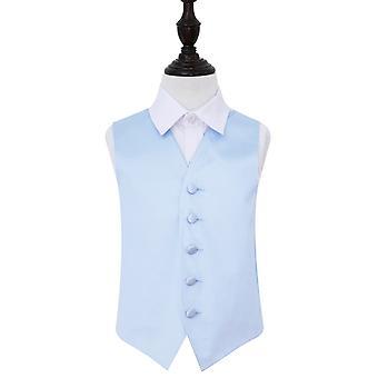 Baby Blue Plain Satin Wedding Waistcoat for Boys