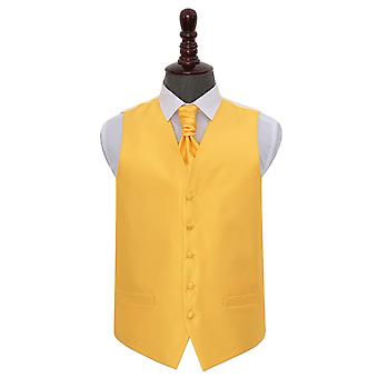 Sonnenblume Gold Solid Check Hochzeit Weste & Cravat Set