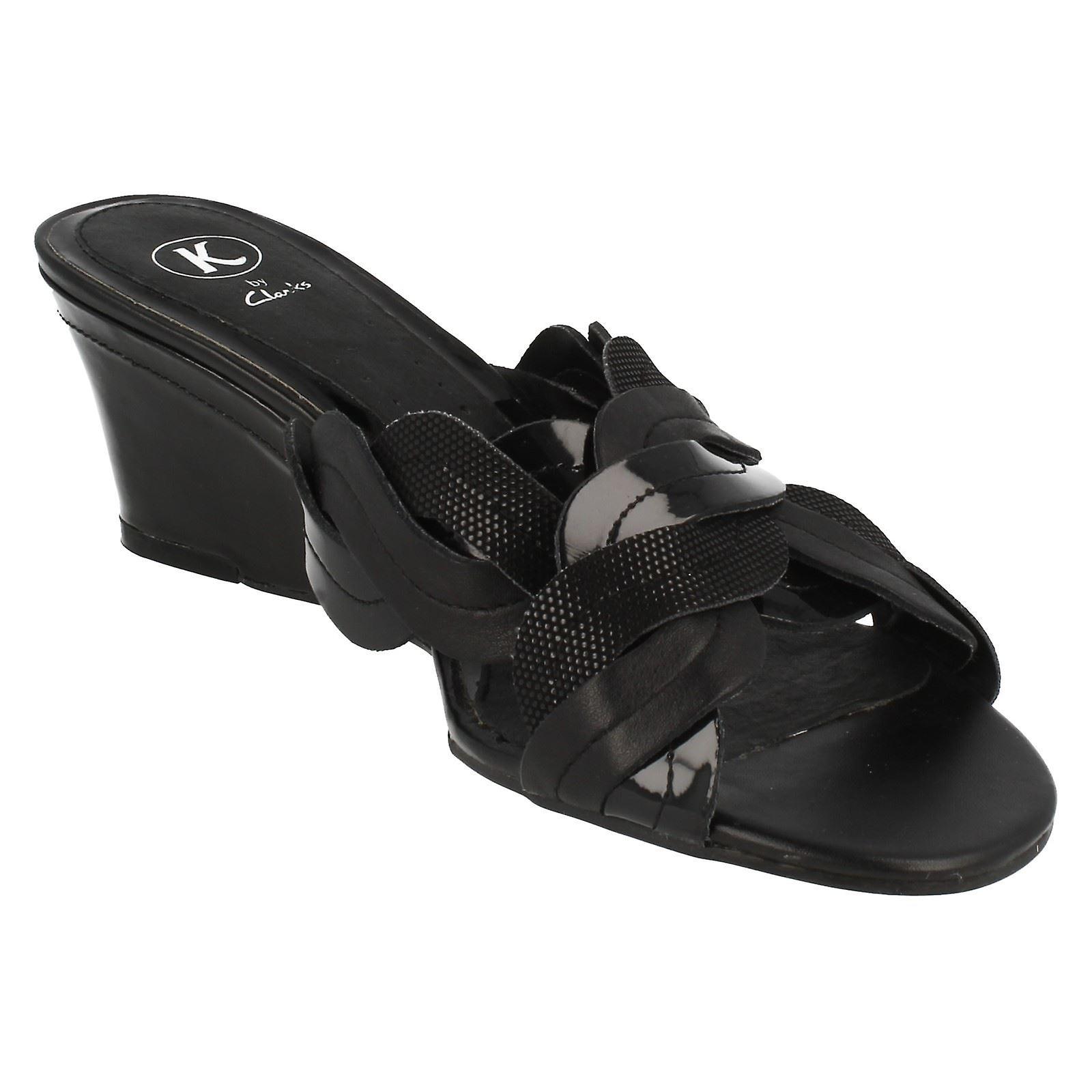 Ladies K By Clarks Wedge Heeled Mule Sandals Saint Shine