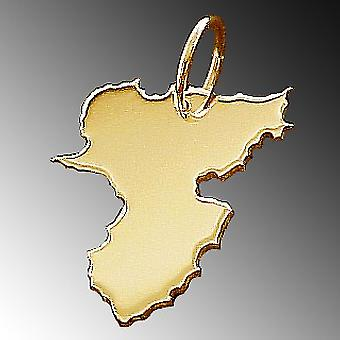 Trailers Federal State Rhineland-Palatinate - massive 585 gold pendants country map