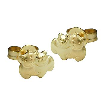 Bärchenstecker earrings TEDDY bear earring matte shiny 9 KT gold 375 girls