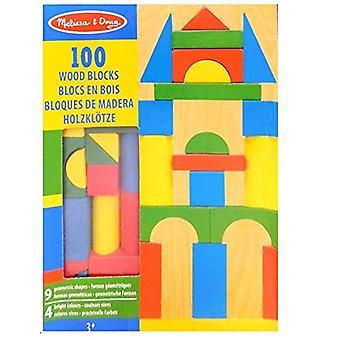 Melissa & Doug houten bouwstenen Set - 100 blokken In 4 kleuren en 9 vormen