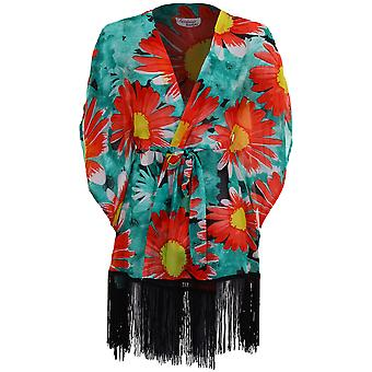 Ladies Short Batwing Sleeve Chiffon Floral Print Tasseled Womens Kimono Jacket