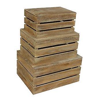 Effetto rovere a doghe con coperchio in legno Storage Box Set 3
