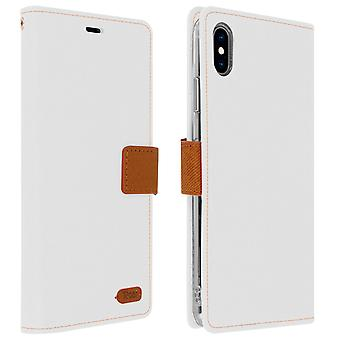 Roar flip wallet case, built-in card slot & stand for iPhone XS Max - White