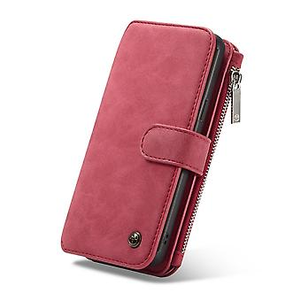 CASEME Samsung Galaxy S9 + Plus Retro leather wallet Case-red