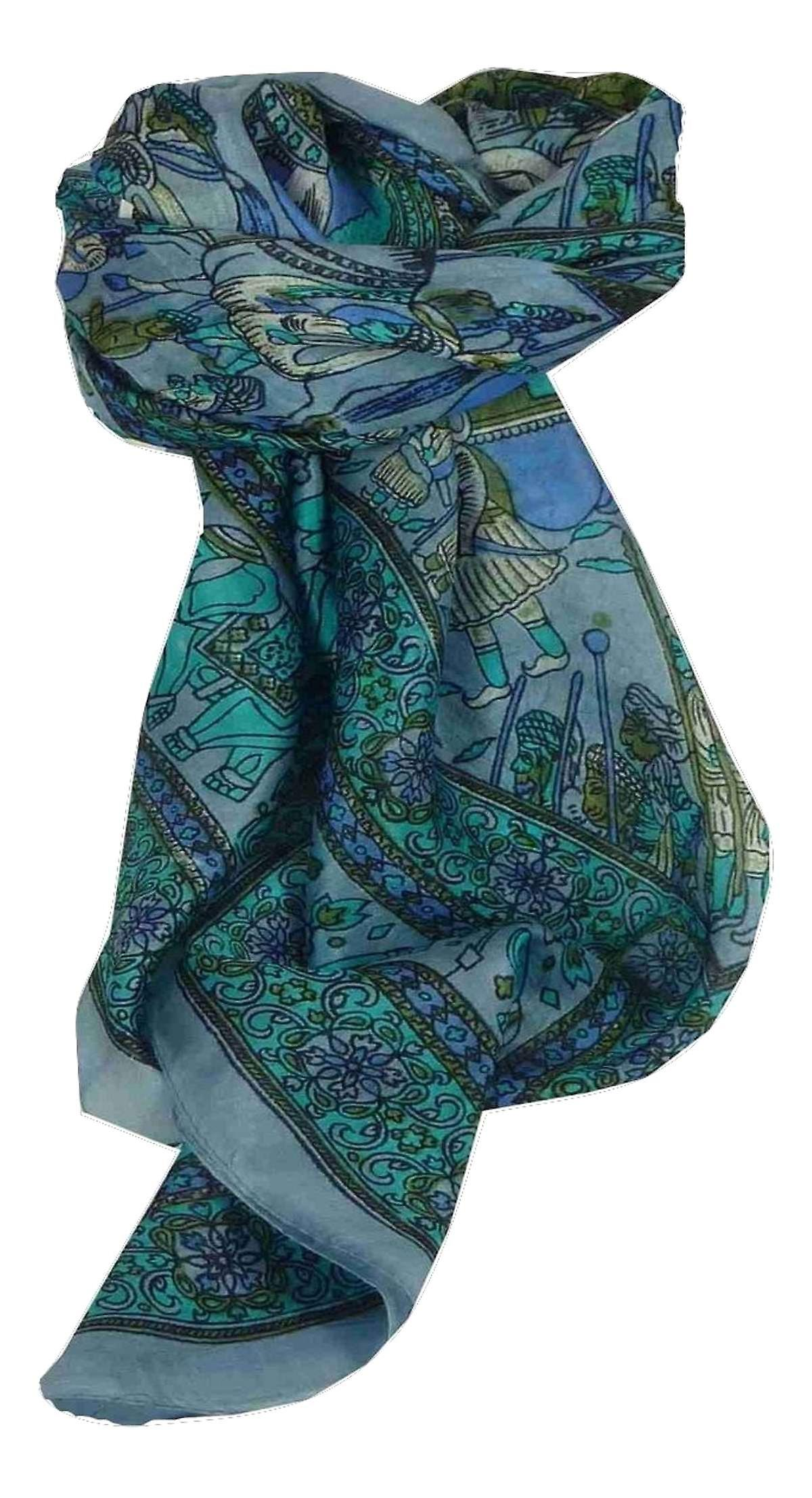 Mulberry Silk Traditional Square Scarf Farrin Light Blue by Pashmina & Silk