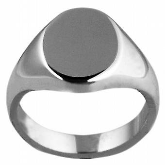 9ct White Gold 13x10mm solid plain oval Signet Ring Size M