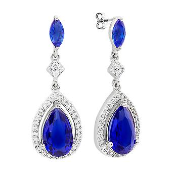 Bertha Juliet Collection Women's 18k WG Plated Blue Teardrop Fashion Earrings