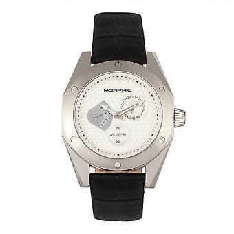 MORPHIC M46 serie lederen-Band mannen horloge w/datum - Silver