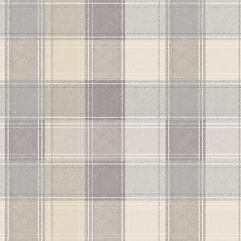 Arthouse land Check Tartan Plaid grå Beige tapet tjekket ternet