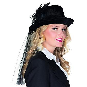 Panie czarny cylinder velvet akcesoria karnawałowe Halloween Deluxe kapelusz
