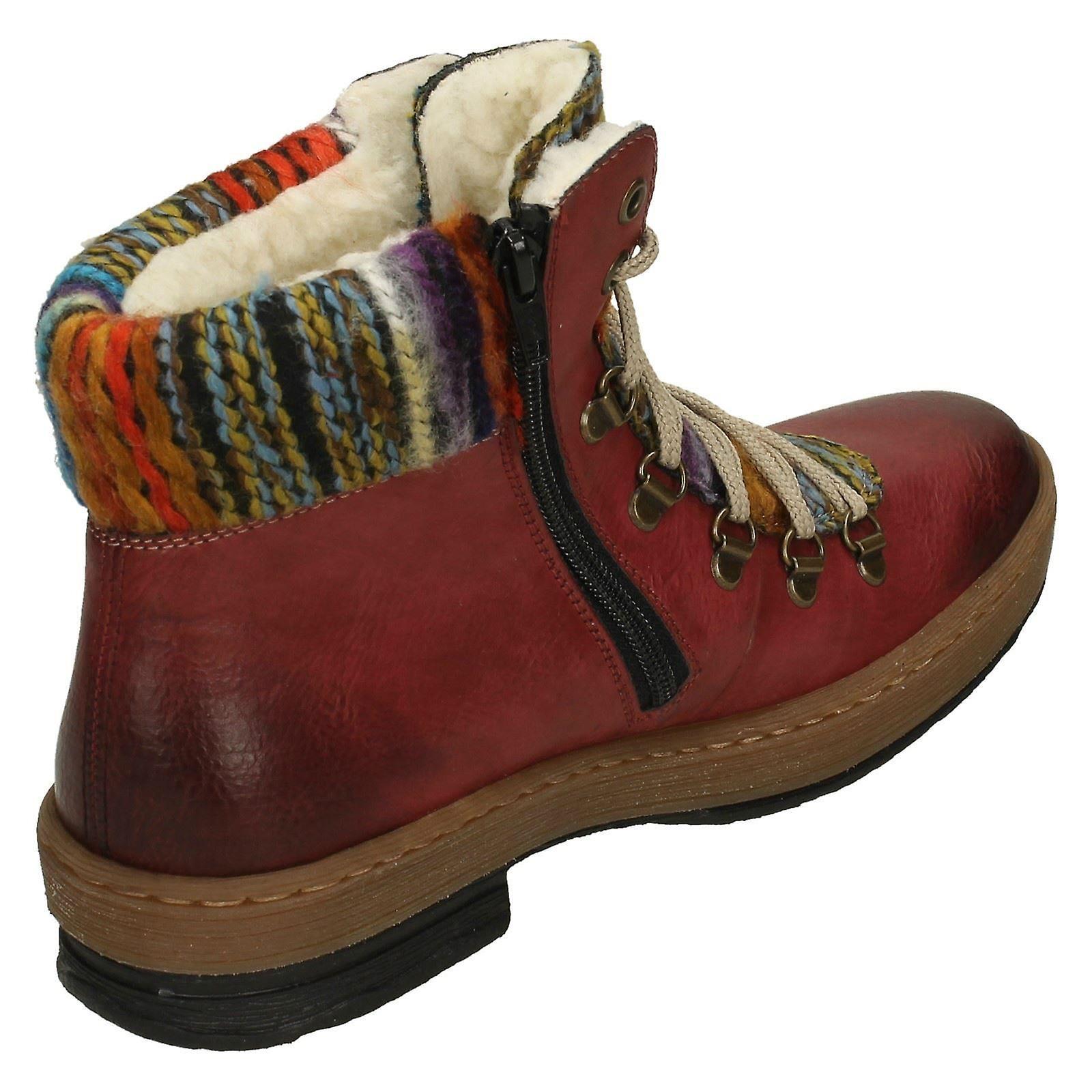 Damen Rieker Multi Coloured gestrickt Trim Ankle Boots Z6743