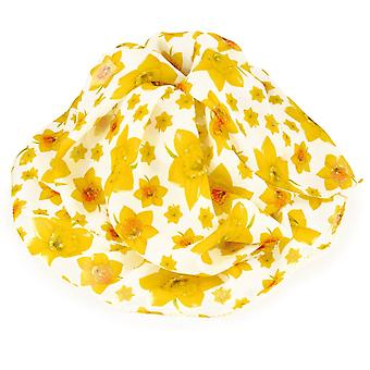 Eternal Collection Welsh Daffodil Yellow And White Multi Coloured Pure Silk Scarf