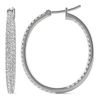 14K wit goud Moissanite door Charles & Colvard 1.4mm ronde Hoop Earrings, 1.09cttw DEW