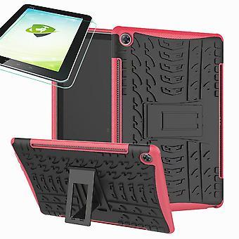Samsung Galaxy Tab A 10,1 T510/T515 2019 hybridi ulkokuori vaaleanpunainen laukku + 0,3 H9 suoja lasi