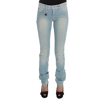 Blue cotton blend super slim fit jeans