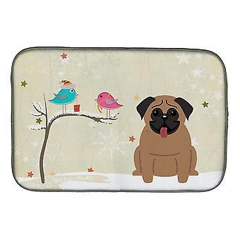 Cadeaux de Noël entre amis Pug brun plat Mat séchage