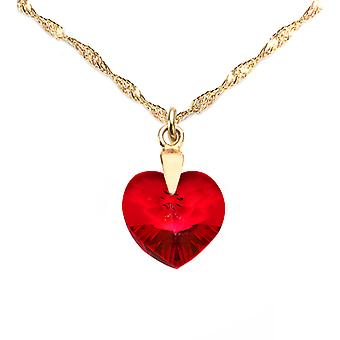 Ah! Jewellery 24K Gold Vermeil Over Sterling Silver 14mm Siam Crystals From Swarovski Heart Necklace