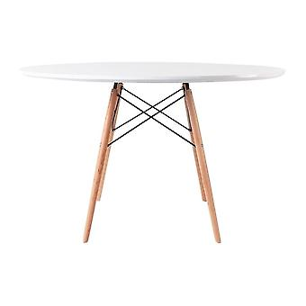 Fusion Living Eiffel Inspired Large White Circular Dining Table With Beech Wood Legs