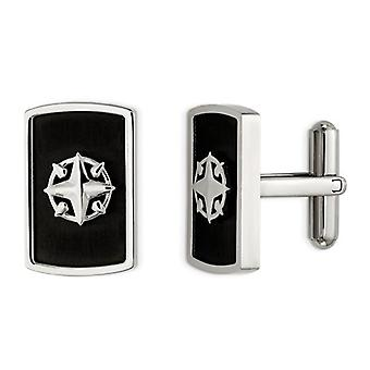 Stainless Steel Polished Black Plated Compass Cuff Links
