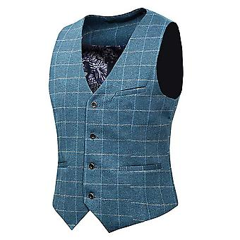 Allthemen Uomo Vintage Tweed Suit Waistcoat checkered Slim Fit V-Collo Senza Maniche Smart Formal Pink